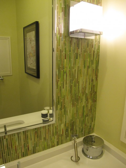 beautiful bamboo tiling makes for a relaxing bathroom